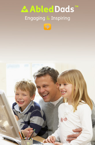 AbledDads link button shows a father sitting at the computer laughing with his young son and daughter sitting with him