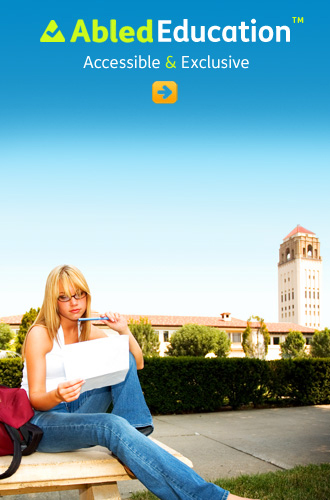 AbledEducation link button shows a young woman with long blond hair and wearing glasses workoing on a paper as she sits on a bench with her university in the background
