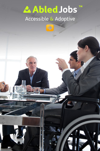 AbledJObs link button shows a woman in a wheelchair sitting with colleagues at a business meeting