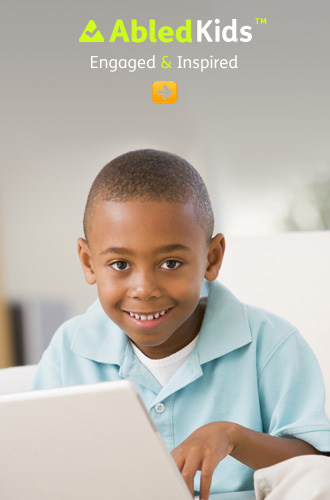 AbledKids link bar shows a smiling African American boy working at his computer