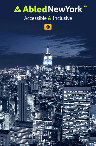 AbledNewYork link button shows a cityscape of NYC at night