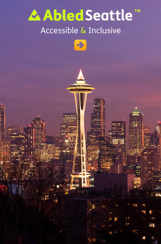 AbledSeattle link button shows the SPace Needle and surrounding buildings lit up at dusk
