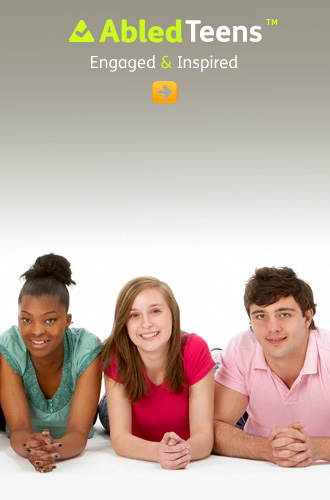 AbledTeens link button shows two girls and a teenage boy lying forward on their elbows and looking to the camera in a studio