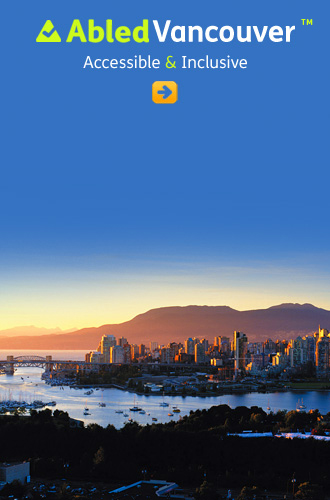 AbledVancouver link button shows downtown Vancouver, a bit of False Creek and the north shore mountains at dusk