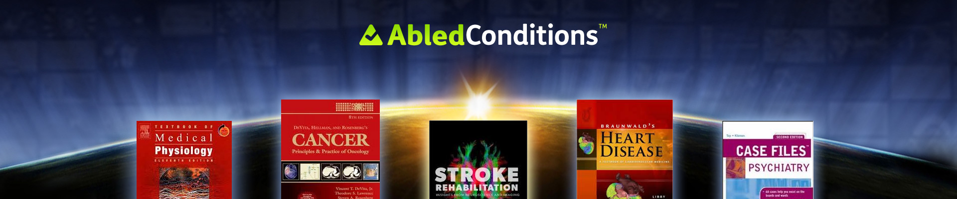 AbledConditions category banner shows the covers of medical books on heart disease, stroke and other conditions agains the backdrop of the sun rising over the edge of the Earth