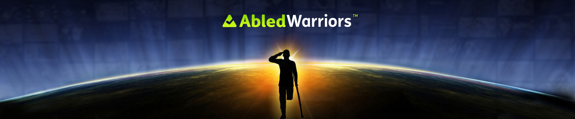 AbledWarriors banner shows a disabled veteran with an amputated leg standing with a crutch while saluting against the backdrop of the curve of the Earth seen from space with a sunrise glowing around the veterans silhouette and a global map showing as a partially dissolved backdrop.