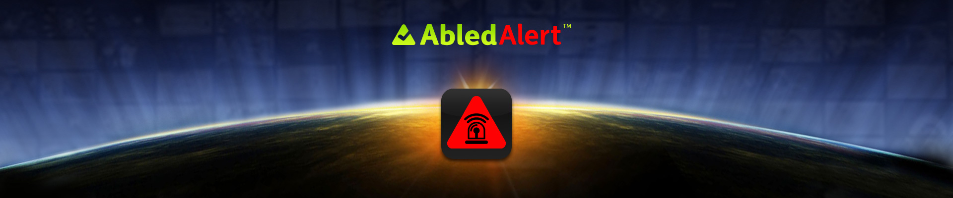 AbledAlert Banner shows a red version of the rounded green Abled triangle with a vector illustration of a siren with a soundwave coming off it.