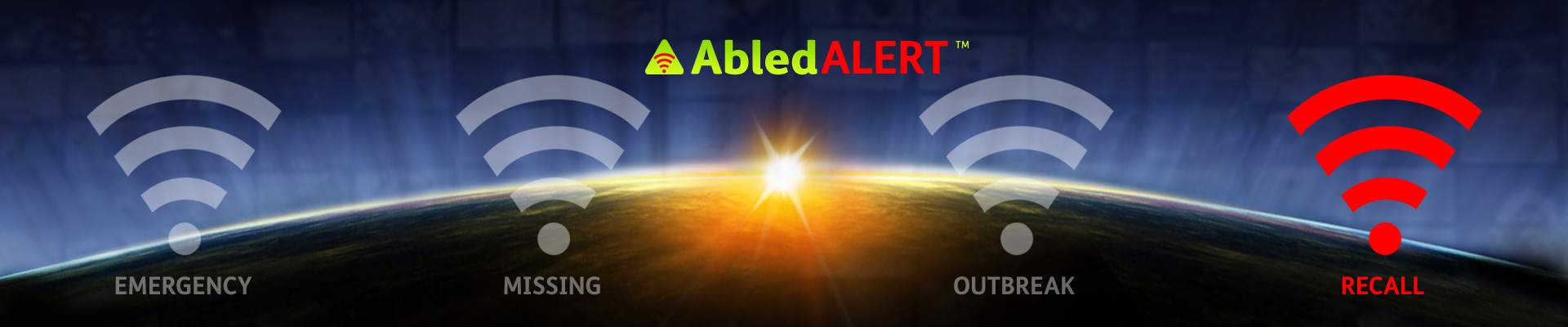 AbledALert Banner with the alert signal for RECALL highlighted.