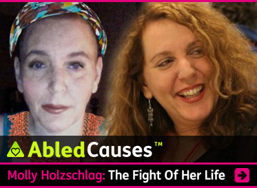 AbledCauses link box shows a photograph of web evangelist Molly Holzschlag with her trademark curly long hair before she became ill with a rare disorder. The other photo is a more recent one, showing Molly with much shorter hair covered by a colorful head scarf. The text reads: AbledCauses: Molly Holzschlag: The Fight of Her Life. Click here to go to the story to learn how you can help this Internet Pioneer beat this rare illness.
