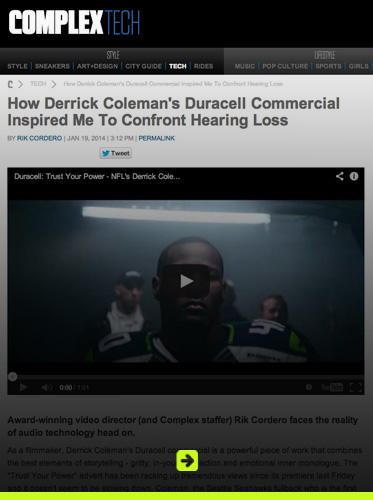 Abled related web coverage link banner to story titled: How Derrrick Coleman's Duracell Commercial Inspired Me To Confront Hearing Loss. Click here to go to the site.