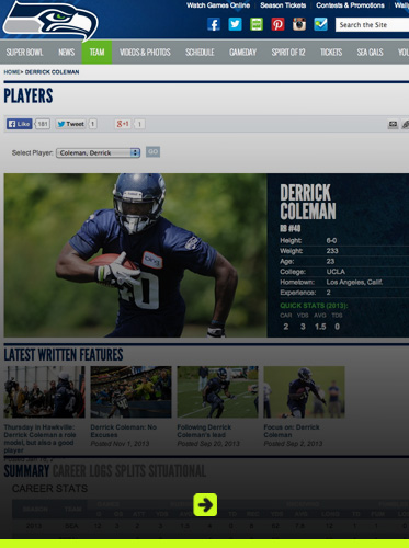 Abled link banner to Derrick Coleman's page at the Seattle Seahawks website. Click here to go to the page.