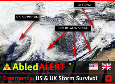 AbledALERT link box headline reads: Emergency: US and UK Storm Survival . A NASA photo taken from space shows the storm systems over the US and the UK connected by a curved band of clouds over the Atlantic Ocean. Click here to go to the Alert.