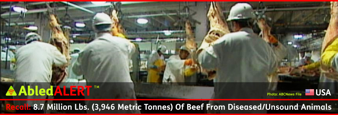 AbledALERT-Recall-USA Post Banner shows a file video still from ABCNews of a meat processing plant with workers on an assembly line wearing white helmets and white coats working on hanging beef carcasses. The headline reads: Recall: 8.7 Million Pounds / 3,946 Metric Tonnes of Beef From Diseased / Unsound Animals.