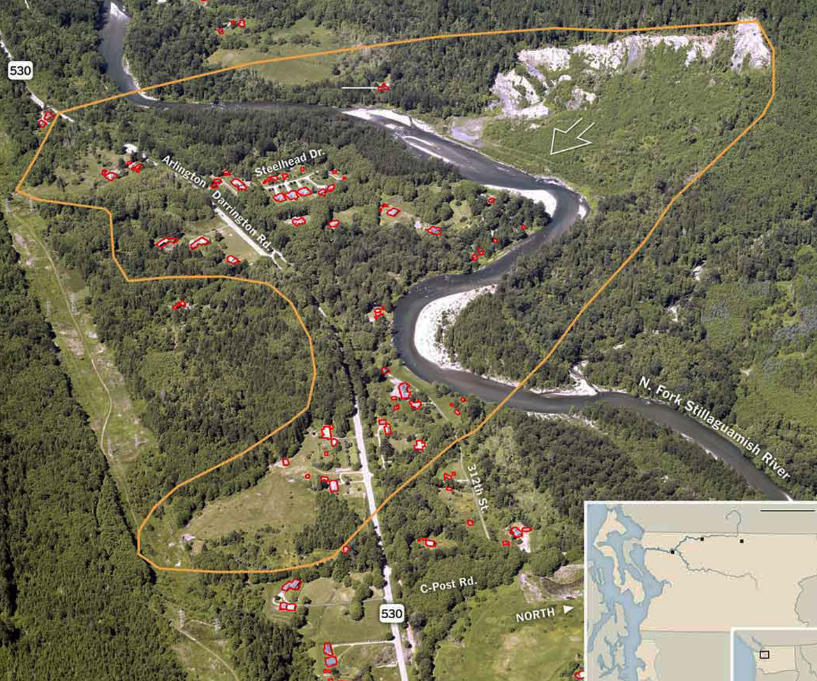 AbledCauses - Aerial map shows the community of homes outlined in red scattered around the the base of the green tree-lined ridge before the site of a previous partial slide completely collapsed from a what's believed to be the subsequent consequences of that previous slide, a base saturated from recent heavy rains and a recent earthquake.