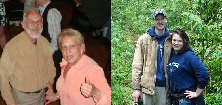 AbledFamily photo shows two pictures - on the left, Thom and Marcy Setterly at a dance together, and on the right Delaney Webb and her fiancé, Alan Bejvi, standing on a trail in the woods.