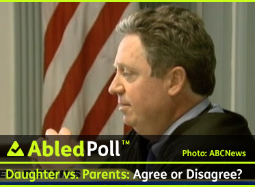 AbledPoll Banner Box shows a photo of the Judge in the case of a daughter suing her parents for support despite the fact she is over 18. The poll banner reads Daughter versus Parents: Agree or DIsagree?