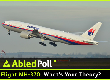 AbledPoll link Banner shows a Malaysian Airlines Jet taking off. The question reads: Flight MH-370: What's Your Theory? Click here to go to the poll page.