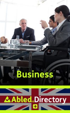 AbledLondon-Directory-Business link banner shows a well dressed business woman wearing a grey suit sitting at a conference table in a wheelchair with other business partners shown in the background. The AbledDirectory logo is shown in the lower third against a Union Jack background. Click here to go to the AbledLondon Business Directory.