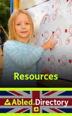 The AbledLondon Resources Directory shows a young girl standing at a sign-language board pointing to the hand sign for the letter m. The AbledDirectory logo is shown in the lower third against a Union Jack background. Click here to go to the AbledLondon Resources Directory.