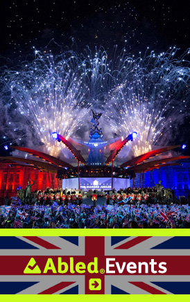 AbledLondon Events link banner shows fireworks behind the main stage of the Queen's Diamond Jubilee Concert in front of Buckingham Palace.The AbledEvents logo is shown in the lower third against a Union Jack background. Click here to go to the AbledLondon Events page.