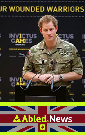The AbledLondon News link banner shows a photograph of Prince Harry dressed in his Royal Marines Camouflage uniform at the press conference announcing the Invictus Games for Wounded Warriors. Click here to go to the AbledLondon News page.