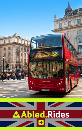 The AbledLondon Rides link banner shows a double decker bus on a sunny day near Piccadilly Circus. CLick here to go to the AbledLondon Rides page.