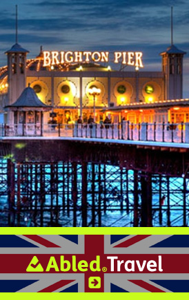 The AbledLondon Travel link banner shows the Brighton Pier lit up at night. CLick here to go to the AbledLondon Travel Page.