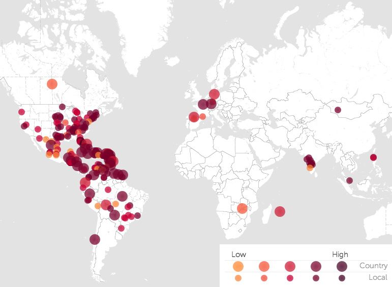 Global map from HealthMap.org shows clusters of 5 different colored dots ranging from yellow to purple representing infections of Chikungunya. The large dots represent countries while the smaller dots represent local infections. Yellow dots represent low numbers of infection while purple dots represent high infections. The greatest clusters are seen in the Caribbean, the south eastern and south central parts of the United States, the northern half of South America, western Europe, Southern India, the Philippines and Japan. They represent the number of alerts received over the past month.
