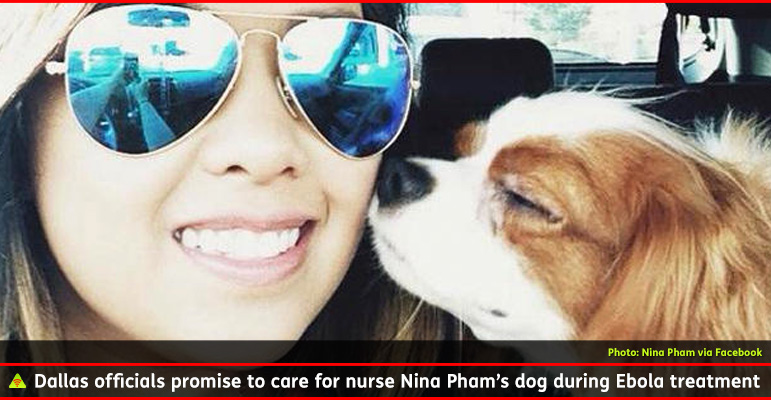 AbledALERT-OUTBREAK-Ebola Photo shows a photo from Dallas nurse Nina Pham's Facebook page of her small pet dog sniffing her cheek while sitting in her car, The 26 year old nurse is wearing aviator sunglasses and smiling as she takes a selfie . The caption reads: Dallas officials promise to care for nurse Nina Pham's dog during Ebola treatment.
