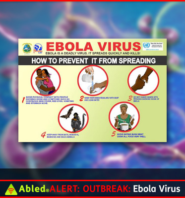 AbledPhoto shows a pamphlet from one of the African Health Ministries explaining how to prevent Ebola from spreading. It says Ebola is a deadly virus - It spreads quickly and kills. It also shows 5 illustrations depicting preventative measures such as avoiding physical contact with anyone who is infected, washing your hands regularly, avoiding handshakes with an infected person, staying away from bats and monkeys, and , for residents in Africa, avoiding consumption of so-called 'bush meat' from wild animals.