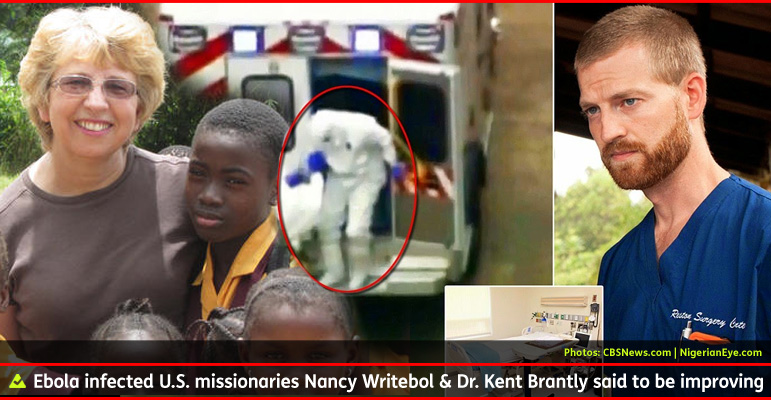 AbledALERT Photo shows American missionaries Nancy Writebol, standing with children in Africa on the left, and Dr. Kent Brantly wearing surgical scrubs on the right, flanking a photo in the center from live news coverage of him stepping out of an ambulance after being airlifted to Emory Hospital in Atlanta from Sierra Leone. The caption reads: U.S. missionaries nancy Writebol and Dr. Kent Brantly said to be improving.