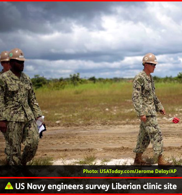AbledALERT photo shows US Navy engineers surveying a piece of land in Libera as the site of a future Ebola treatment center.