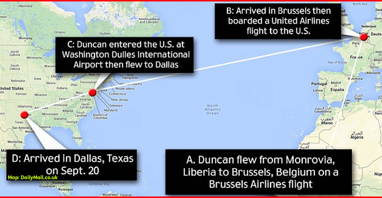 AbledPhoto: A map traces the travel route of Thomas Duncan from Liberia, to Brussels where he boarded a United Airlines flight to Washington D.C. and then flew on to Dallas, Texas.