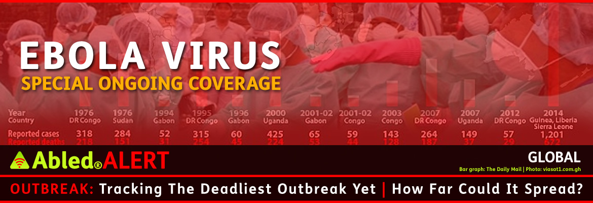 AbledALERT: Outbreak Post link Banner shows an image of health care workers wearing protective clothing including pink rubber gloves and face masks. The image is half dissolved with a horizontal timeline of ebola cases ranging from 318 reported cases and 218 deaths in the Democratic Republic of the Congo in 1976 to 1,201 cases and 672 deaths (at the time the graphic was made) in 2014 in Guinea, Liberia and Sierra Leone. The headline reads: Tracking the deadliest outbreak yet. How far could it spread?