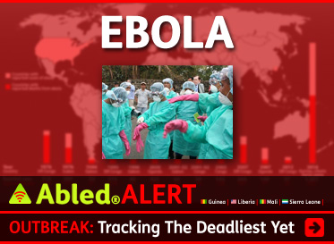 AbledAlert link banner Shows a photograph of healthcare workers dressed in turquoise blue surgical gowns , hairnets and pink medic al gloves set against a world map and chart showing data on Ebola outbreaks since 1976. The headline reads: Abled Alert: Outbreak: Tracking the deadliest yet. Click here to go to our Special Ongoing Coverage on the Ebola Virus outbreak in West Africa.