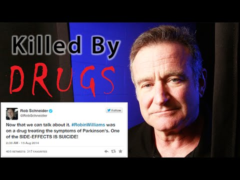 Photo from wn.com shows a photo of Robin WIilliams with the words Killed By Drugs superimposed on it along with a copy of a tweet by actor-comedian Rob Schneider which reads:'Now that we can talk about it, Robin Williams was on a drug treating the symptoms of Parkinson's. One of the SIDE-EFFECTS IS SUICIDE!