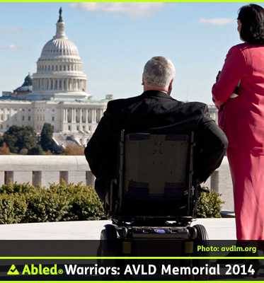 AbledWarriors F A Q Photo for the section: The History, shows Dennis A. Joyner from behind sitting in his wheelchair at the site of the memorial and looking toward the U.S. Capitol Building on a sunny day. There is a lady standing next to him. Mr. Joyner is the Secretary of the Board of Directors for the memorial. He became a triple amputee when a land mine exploded while he was on an Army patrol in Vietnam in 1969.