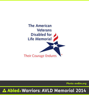 AbledWarriors F A Q photo shows the logo of The American Veterans Disabled For Life Memorial that depicts a white star inside an elongated blue star with two red stripes in the shape of a flame. The words: Their Courage Endures lay under the star in red letters.