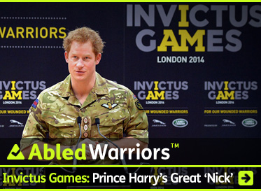 AbledWarriors link box shows a photo of Britain's Prince Harry dressed in his camouflage combat fatigues as he addresses a press conference with the logo of the Invictus Games behind him in grey on a black background. The second I in Invictus and the letters A and M in Games are in bright yellow to form the words: I Am. The headline reads: AbledWarriors: Invictus Games: Prince Harry's Great 'Nick'. Click here to go to the post.