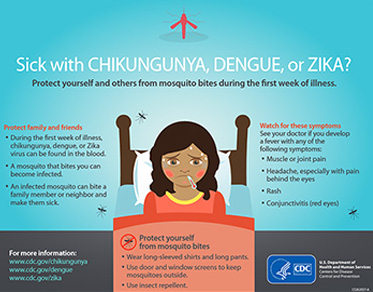 Poster from the Centers for Disease Control in the United States shows an illustration of a girl in bed who is wearing, has rosy cheeks and a thermometer in her mouth. There are several mosquitoes in the illustration. The text reads: Sick with Chikungunya, Dengue, or Zika? Protect yourself and others from mosquito bites during the first week of illness. Protect family and friends. During the first week of illness, chikungunya, dengue or pika virus can be found in the blood. A mosquito that bites you can become infected. An infected mosquito can bite a family member or neighbor and make them sick. Protect yourself from mosquito bites. Wear long-sleeved shirts and long pants. Use door and window screens to keep mosquitoes outside. Use insect repellent. Watch for these symptoms: See your doctor if you develop a fever with any of the following symptoms: Muscle or joint pain; Headache, especially with pain behind the eyes; Rash; Conjunctivitis (red eyes).