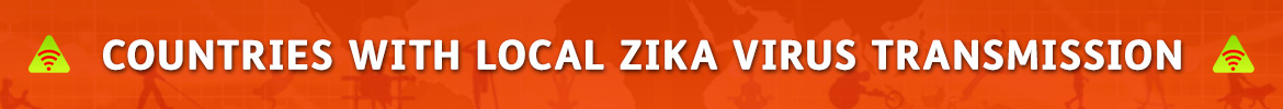 AbledAlert: Banner reads: Countries with local Zika virus transmission.