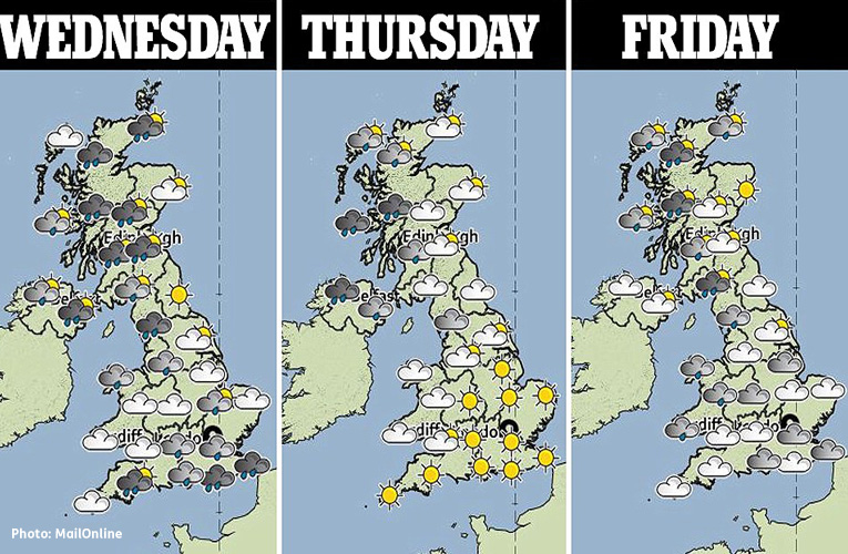 Photo shows 3 maps of the UK under the headings Wednesday, Thursday, Friday and details where rain will fall based on illustrated weather icons.