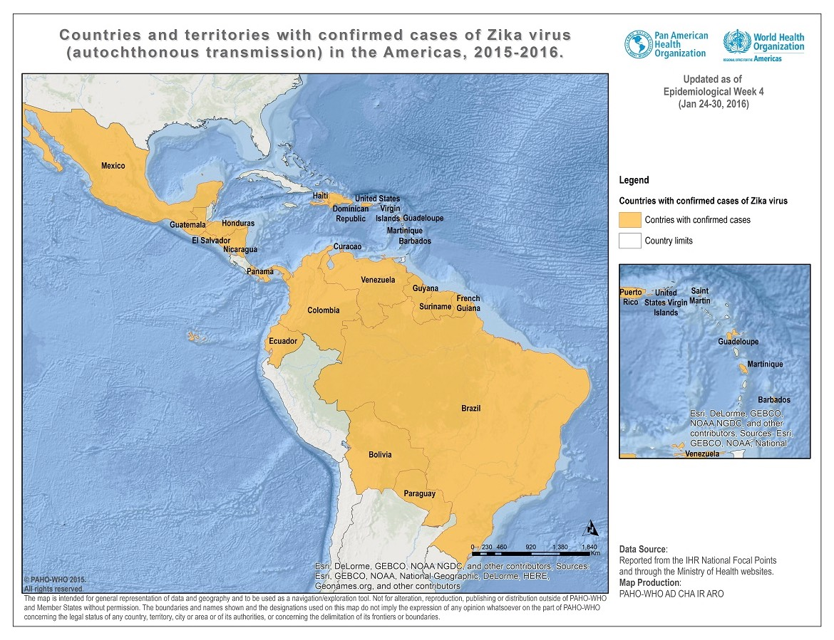Map from the World Health Organization and the Pan American Health organization shows Countries with confirmed cases of local Zika Virus transmission as of January 30, 2015. These countries are, in alphabetical order: Barbados | Bolivia | Brazil | Colombia | Curaçao | Dominican Republic | Ecuador | El Salvador | French Guiana | Guadeloupe | Guatemala | Guyana | Haiti | Honduras | Martinique | Mexico | Nicaragua | Panama | Paraguay | Puerto Rico | Saint Martin | Suriname | US Virgin Islands | Venezuela. Click on the map to go the PAHO.org page.