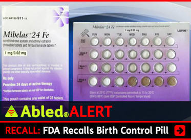 AbledAlert: RECALL: FDA Recalls Birth Control Pill. Image: Photo shows packaging for the Mibelas 24 Fe birth control pill.