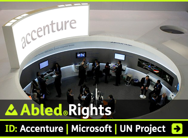 AbledRights: ID: Accenture | Microsoft | UN Project. Image:Composite image shows a circular Accenture service center seen through a hole in a desk.