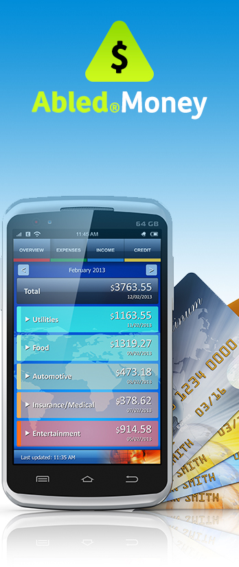 AbledMoney Category Banner. Image: A smartphone shows budgeting summaries on it's screen while credit cards are fanned out behind it like playing cards.
