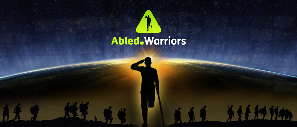AbledWarriors Banner. Image: A silhouette of a single leg amputee veteran stands with a crutch while saluting in the foreground, as a faded image of soldiers walking single file across the horizon is in the background blening into a curved view of the Earth's horizon from space as light from the Earth fades into starlight.