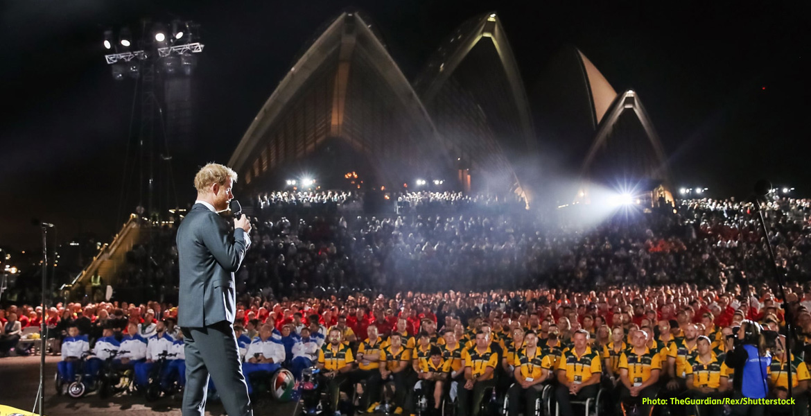 Image: HRH Prine Harry, Duke of Sussex, looks out at an audience estimated at over 4,000 people in the forecourt of the Sydney Opera House as he opens the fourth Invictus Games.