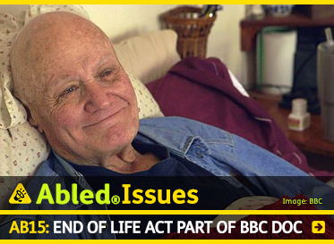 AbledIssues: AB15: End of life Act part of BBC Doc. Image: Video still of a California man with Stage 4 pancreatic cancer lies in bed and smiles as he chooses to end his life under a California law.
