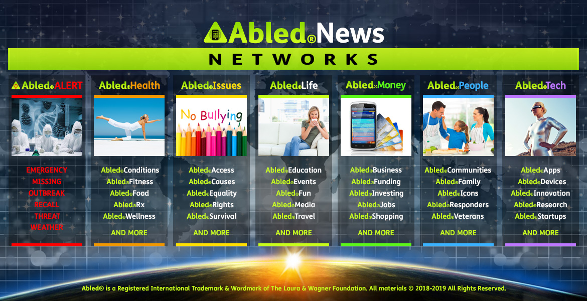 Abled.News Networks banner shows seven Network categories from left to right: AbledALERT, AbledHealth, AbledIssues, AbledLIfe, AbledMoney, AbledPeople and AbledTech. Each of the subsequent tabs contains headlines and FastFacts from each of the categories.